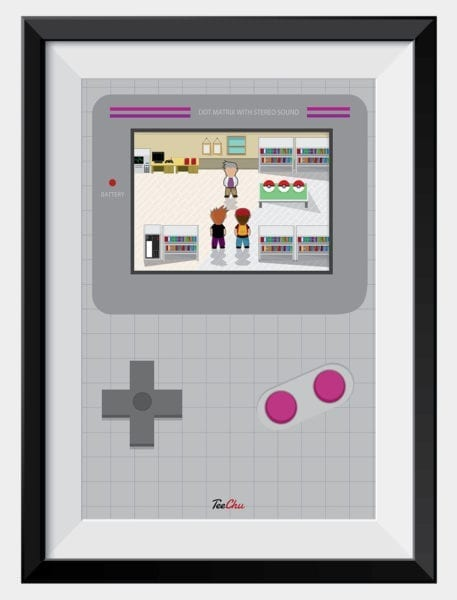 oaks-lab-pokemon-art-print-poster-framed