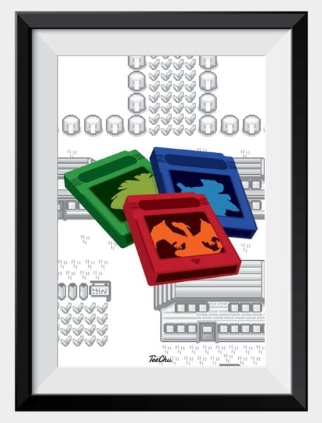 kanto-tree-pokemon-carts-art-print-poster-framed