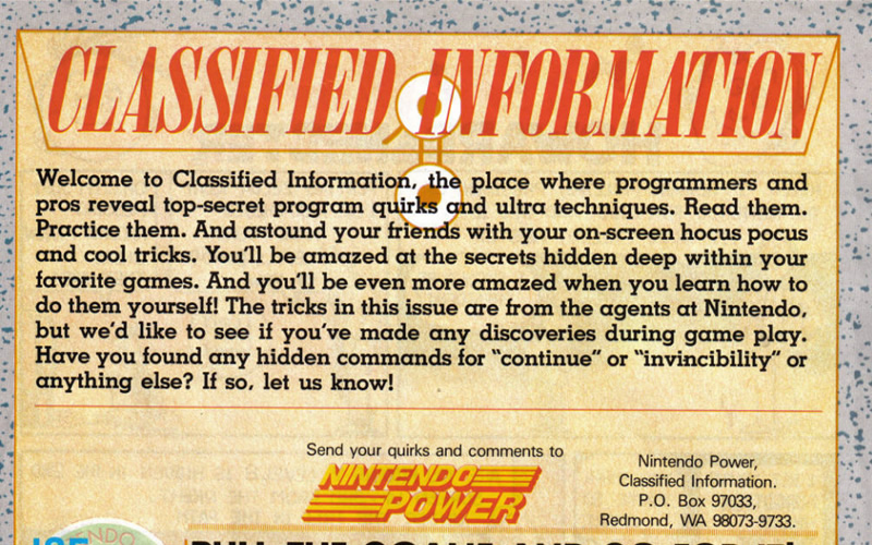 Nintendo Power had classified info. Dare you read on?