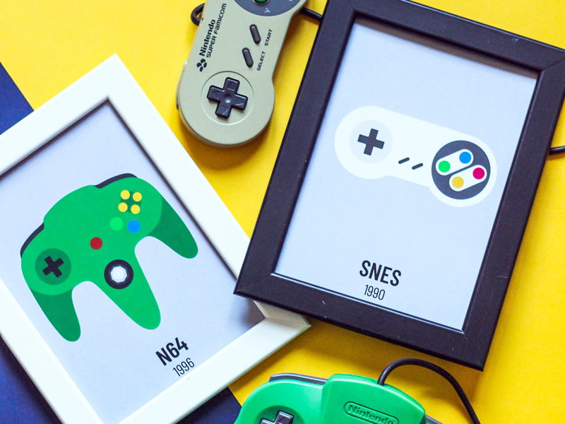 Classic Video Game Controller Prints