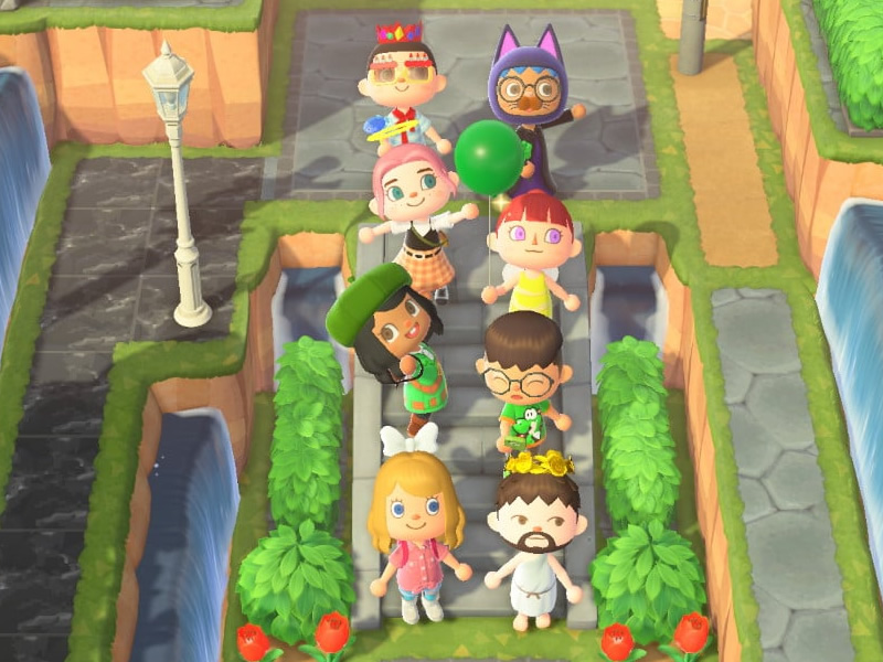 Willing volunteers? Our competitors for the Animal Crossing assault course!
