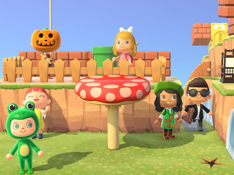 The winners! The finishing line of the Mario themed Animal Crossing assault course