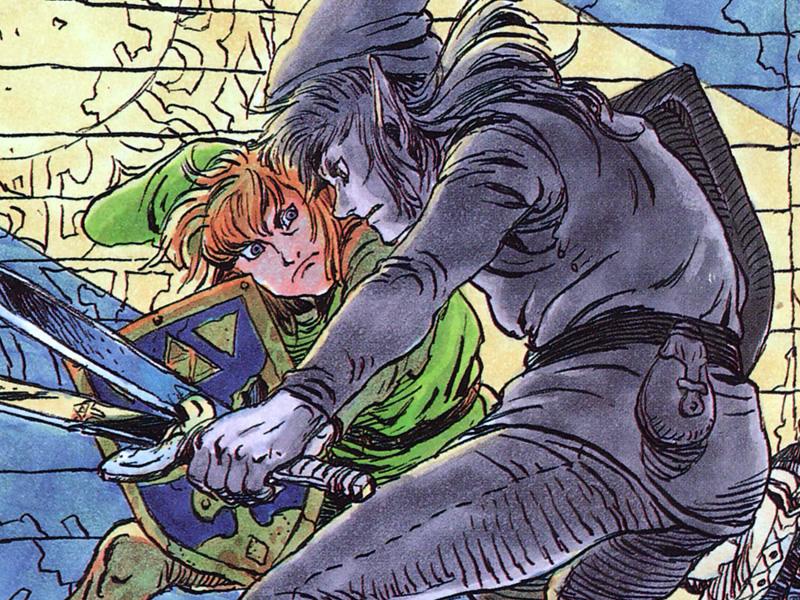 Sketchy Zelda art shows Link versus Dark Link