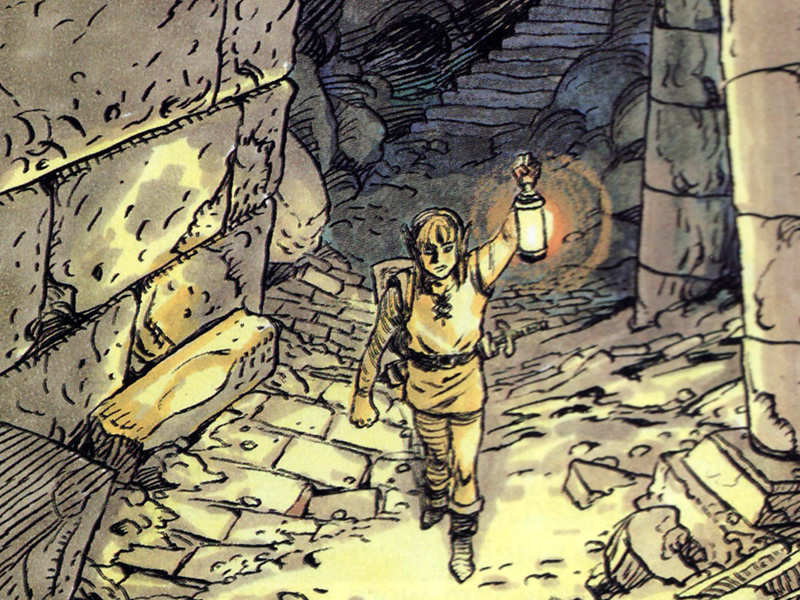 What's inside the caverns? A drawing of Link with a lantern