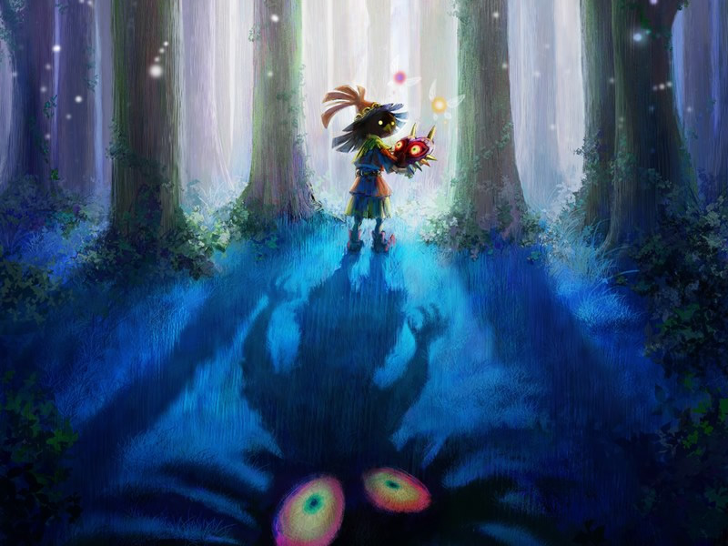 A deep shot of Majora in the woods shows a darker side to the Zelda art style