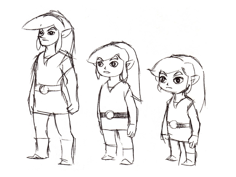 From big to small, concept drawings of Link