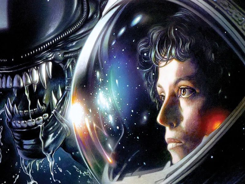 In Metroid History, an image of the Alien film - the inspiration for Metroid