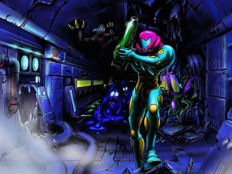 Metroid Fusion artwork as part of Metroid history