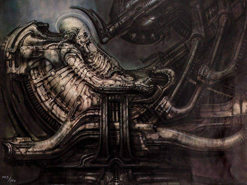Work from H.R. Giger, the inspiration for Alien and Metroid
